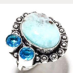 Amazing Caribbean Larimar 925 silever ring